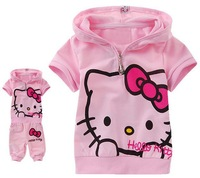 2013 Autumn Children clothing sets baby girl set hello kitty kids T-shirt with cap+pants Free shipping