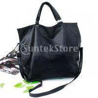 Free Shipping PU Leather Handbag Tote Messenger Shoulder Bag for Women - Black