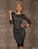 3/4 Sleeve Autumn Winter Dress 2014 New Vestidos Femininos Women Full Lace Embroidery Bodycon Party Dress 9009