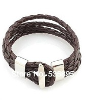 Brown leather bracelets for men  wholesale  2014 new leather bracelets jewelry   free shipping