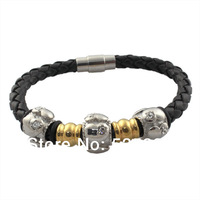 Fashion Men's Braided Black Leather Bracelet With Magnetic Clasp Black bangles& bracelets for men