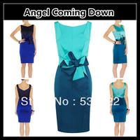 Free Shipping, Top Quality, Women's Fashion Slim Elegant 2013 Summer Color Block Cute Bow Tank Formal Pencil Dresses KM-D012