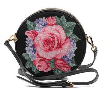New fashion cross stitch round handmade peony flower designer brand Messenger bags national trend chain shoulder bags free ship