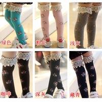 1pairs Children Knee socks Children's socks/ Lace High Socks / Floral Princess Long socks Leggings Fit 1-8 Year Old Girl CL0443