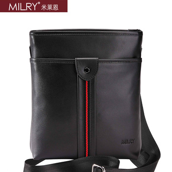Free Shipping 2013 fashion new Brand MILRY 100% Genuine Leather shoulder  Bag for men messenger bag cross body black  CS0013-1