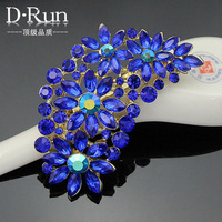 Navy Blue Feather Shaped Sapphire rhinestone Party Brooches Pins for Women Ladies scarf --- Af029