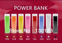 2600mah Lipstick External Battery Pack For IPhone 4 4s 5 Portable Power Charger For Samsung S3 S4 For HTC Sony Mix Colors