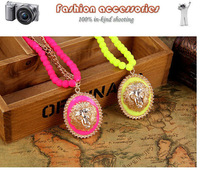 Fashion vintage Korean candy colored velvet beads sweater chain lion avatar long woman pendant necklace clothes jewelry