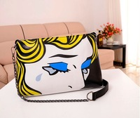 New Arrival Fashion Designer Angel Tears Character Women's Messenger Shoulder Clutch Bag Handbag Free Shipping PU leather Chain
