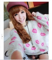 2013 popular new autumn (fall) winter mohair plush lips pattern print bat sleeve women's  knit sweater ladies tops clothes