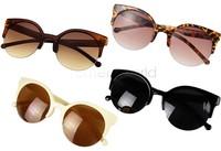 Newest Designer Unisex Retro Super Cat Eye Round Circle Semi-Rimless Sunglasses Glasses Goggles Drop shipping 5635