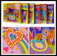 6 designs/set Kids DIY handmade 3D Cartoon Animal digital EVA Mosaic Art Sticker Mosaic Puzzle Children's educational Toy