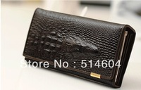 new Genuine Leather Crocodile Clutch bag , fashion purse, Wholesale Women Long patent leather Wallet  SK9135