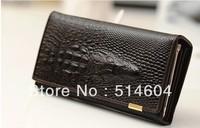 new Genuine Leather Crocodile Clutch bag , fashion purse, Wholesale Women Long patent leather Wallet  SK9135