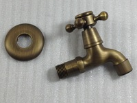 Freeshipping Antique Brass Finish Bathroom Wall Mount Washing Machine Water Faucet Taps GZ-8402