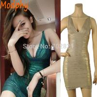 Women green foil bandage dress elegant sexy backless night club bodycon elastic party wear drop shipping HL1555