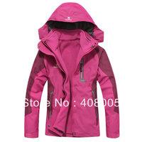2013 New brand Fashion women's sports coat Winter outdoor camping jacket rainproof waterproof breathable 2 in 1 woman Ski jacket