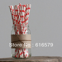 2 Pack 50 PCS Colorful Heart Pattern Paper Straws Biodegradable Drinking Wedding Party