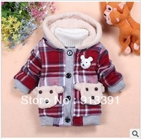 2013 child fleece outerwear plaid print wadded jacket outerwear Free shipping