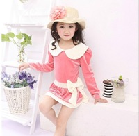 Free shipping! 5 piece Girl dress wholesale! 2013 New Autumn Korean Children's clothing child sports suit casual one-piece dress