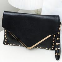 hot sale!2014 women bag fashion Rivet day Clutch handbag Cover envelope bag evening bag tote 5 color hand bag/messenger bag