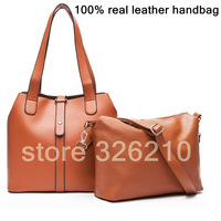 Free Shipping genuine cow leather bag vintage bucket bag women's handbag