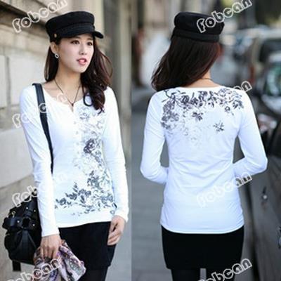 Stampato floreale moda donna bianca tee plus size xl-4xl cotone elasticizzato arredamento pulsante ragazze nere sciolto t- shirt piani donne casual