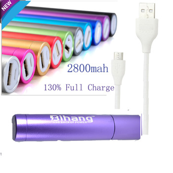 2800mAh Cylindrical External Battery Pack Lipstick Charger/ Portable Power Bank for HTC One Mini 8XT First M7 SV Desire C-Purple