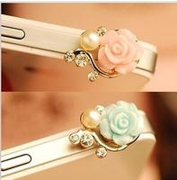 wholesale new ks kawaii flower pearl rhinestone Anti dust plug for cell phone/kpop fashion luxury cute headphones cap