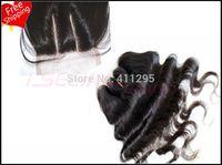 "3 way parts closure virgin Brazilian body wavehair 5x5""swiss lace top closure bleached knots #1b color,Free shipping"