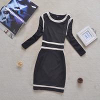 [RV Closet] Womens spring  Fall fashion vintage dress striped slim color blocked Fashion Hilton style brand  dress