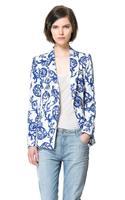 2013  Autumn new  blue and white porcelain ceramic printing leisure suit Slim jacket Elegant blazer