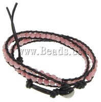 Free shipping!!!Wrap Bracelet,Wholesale Lot, Jade, with Leather, brass clasp, 2-strand, 7.5mm, 4mm, Length:13-16 Inch