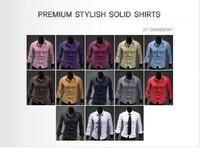 Free shipping,New fashion 2013 Mens Slim fit Unique neckline stylish Dress long Sleeve Shirts Mens dress shirts