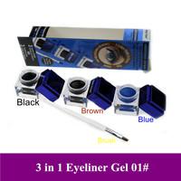 Free shipping! 2013 Unique Mix Sale Brown + Black + Blue Cosmetic makeup waterproof eyeliner gel cream, 3pcs/lot