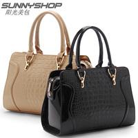 2014 genuine pu leather crocodile pattern fashion smiley women handbags shoulder cross body bag women messenger bags Brand totes