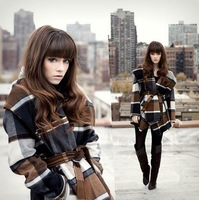 women wool coat_ fashion plaid cape woolen cloak overcoat female _winter jacket women