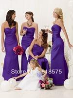 Elegant Sweetheart Pleated Bodice Satin Long Purple Bridesmaid Dresses