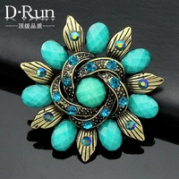 4PC/Lot High Quality Flower Shaped kallaite Vintage Resin Pin Brooch Free Shipping Danrun jewelry factory