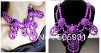 Free Shipping Candy Color Chandelier Necklaces Accessories fFashion Lluxury metal Ribbon Collar Painted Necklace