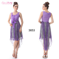 HE03653 Ever Pretty Girl's Square Neckline Purples High Low Printed Bow Cocktail Dresses