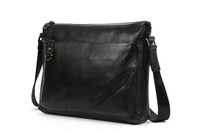 2013 Business Genuine leather bag casual brief commercial man bag black genuine leather bag men college bag 1011-3 black