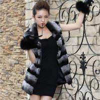 2014 New Women Natural Whole Skin Rex Rabbit Real Fur Vests Chinchilla Rabbit Outwear Coats Stripe Design Free Shipping