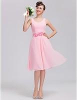 A-line Scoop Knee-length Chiffon Bridesmaid Dress