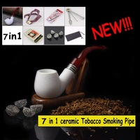FIREBIRD ! Classic 7-in-1 Solid and Durable Stone Ceramics Tobacco Smoking Pipe +Tobacco Tin+ Tobacco Pipe Cleaning Tool