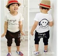 1 Set children's clothing Shirt&Pant/Set Hot Children Headphones Elephant Set Boy Girl Short sleeve clothing For children CL0480