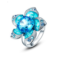 2013 Free Shipping fashion flower woman crystal 925 ring,made with swarovski element R0265