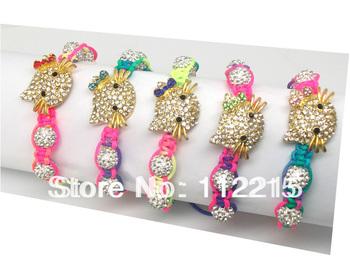 freeshipping   fashion 5PC mix  hello kitty Bracelet Crystal Connectors and beads new shamballa bracelet  Fit  gift  DSCF4824