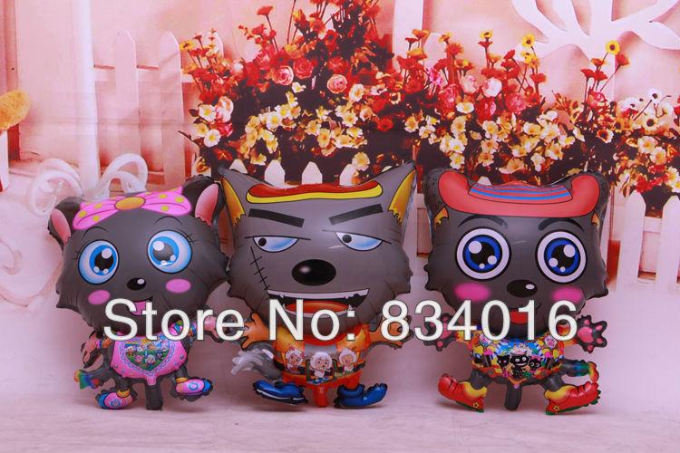 New ! Free shipping 50pcs/lot Wolf balloon , 45CM * 62CM, Helium balloon , Cartoon toys for children()