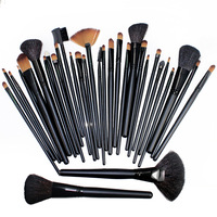 Free Shipping! 32PCS (1Set) Women's Lady Professional Makeup Brush Set Toiletry Kit Makeup Brushes + Black Leather Case